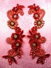 0183 Mirror Pair Sequin Beaded Appliques Red Gold 10 Set Floral