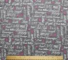 FLANNELPINK CANCER AWARENESSLOVE COURAGE HOPE on GRAY100 Cotton Fabric BTY