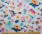 SNUGGLE FLANNEL LITTLE GIRL MERMAIDS FISH SHELLS on GRAY 100 Cotton NEW BTY