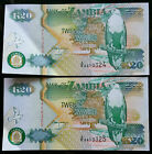 2 CONSECUTIVE 1992 ZAMBIA 20 KWACHA BANK NOTES