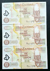 COLLECTION OF 3 CONSECUTIVE 2003 ZAMBIA 500 KWACHA BANK NOTES