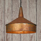 Primitive new distressed look hanging tin FUNNEL light/ PLUG IN LIGHT