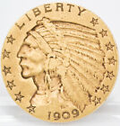 1909 United States Indian Half -Eagle Five-Dollar Ungraded Circulated Gold Coin