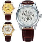 Luxury Gold Diamond Skeleton Mechanical Watch Men Leather Band Male Relogio Uhr