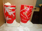 VTG Antique GLITTER QUILTED SANTA CLAUS BOOT CHRISTMAS STOCKING SET BELL JINGLE