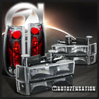94 98 GMC Sierra Black Clear Headlights+Bumper Corner Lamps+Clear Tail Lights