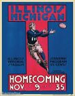 Illinois v Michigan Vintage Official 1935 Football College Program Poster Sign