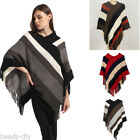 Fashion Women Stripe Fringe Poncho Knitted Cape Cloak Batwing Sleeve Pullover