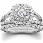 1 1 10ct Cushion Halo Diamond Engagement Wedding Ring Set White Gold Woven