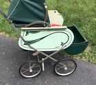 Antique Doll Carriage Thayer vintage green stroller pram buggy toy