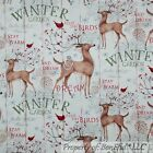 BonEful Fabric Cotton Quilt Red Cardinal Country Deer Berry Xmas Tree SALE SCRAP