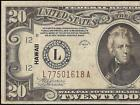 1934A $20 DOLLAR BILL HAWAII BROWN SEAL FEDERAL RESERVE NOTE WWII CURRENCY