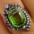 5.00CT ANTIQUE VINTAGE VICTORIAN PERIDOT ROSE CUT DIAMOND CLUSTER COCKTAIL RING