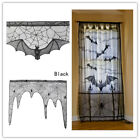 Haunted House Gothic Black LACE SPIDER WEB TABLE Cloth Curtains Halloween Decor