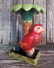 Vintage RAYMOND WAITES Red AMAZON PARROT Perched Under Palm Tree Candle Holder