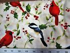 Cardinal Christmas White With Cardinal  Other Birds Northcott Cotton Fabric