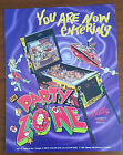 Original Bally PARTY ZONE Pinball Flyer