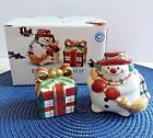Fitz and Floyd Plaid Christmas Salt & Pepper Shakers Set Snowman Gift Bow ~ NIB