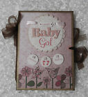 SWEET BABY GIRL CHIPBOARD FOLIO ALBUM NOT PAPER BAG PREMADE SCRAPBOOK PAGES