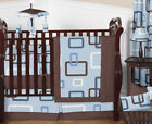 Contemporary Blue Brown 9pc Baby Boy Crib Bedding Comforter Set Room Collection