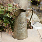 Country Living  new distressed gray tin decor pitcher with flowers