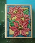 STAINED GLASS POINSETTIA Rubber Stamp by Rubber Stampede Christmas