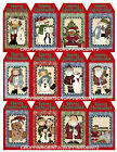 SET OF 12 CHRISTMAS COUNTRY 142 SCRAPBOOK CARD EMBELLISHMENTS HANG GIFT TAGS