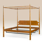 Queen Size Shaker Pencil Post Bed with Canopy Frame Tiger Maple Wood Furniture