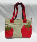 PVC LEATHER STRAWBERRY APPLIQUE ON CANVAS SHOULDER TOTE BAG MX DESIGN ZIP CLOSE