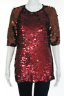 Lanvin Red Sequin Knit Short Sleeve Crew Neck Blouse Top Size Medium