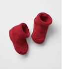 NWT BABY GAP GIRLS BOYS RED KNIT BOOTIES CRIB SHOES NEW 0 3 MONTHS twins