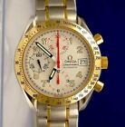 Mens Omega Speedmaster 18K Gold & SS Chronograph Watch - Silver Dial - 3313.33