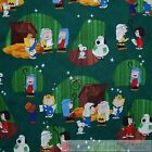 BonEful Fabric FQ Cotton Quilt Green Charlie Brown Xmas Nativity Scene Boy Girl