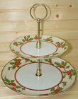 Fitz Floyd Christmas Holly 2-Tiered Serving Tray 10 1/2