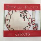 Fitz and Floyd Snowman Snack Plate With Candy Cane Spreader 2006 Cheers