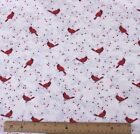 SNUGGLE FLANNEL RED CARDINALS ON VINES OFF WHITE 100 Cotton Fabric NEW  BTY