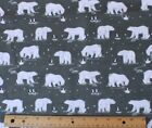SNUGGLE FLANNEL  POLAR BEARS  PENGUINS on GRAY 100 Cotton Fabric NEW  BTY