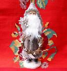 14 inch Vintage Style Christmas Taupe Velvet Belsnickle Santa with Wreath New