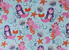 SNUGGLE FLANNEL MERMAIDSSTAR FISH FISH SHELLS on AQUA 100 Cotton NEW BTY