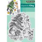 New Cling Penny Black RUBBER STAMP CHRISTMAS TRIMMING TIME TREE CAT HEDGIE