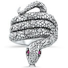 GENUINE RUBY ANTIQUE VICTORIAN DESIGN 925 STERLING SILVER SNAKE RING SIZE 5,#221