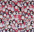 FLANNEL  PENGUINS  SNOWMEN in SCARVES on PINK 100 Cotton NEW BTY