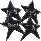 4 Black Country Primitive Star Magnets Believe Family Faith Simplify Decor