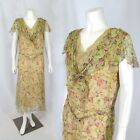 Vintage 1920s Floral Print Chiffon Dress Flapper Costume Scarf Collar Lined M