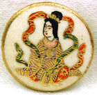 Vintage Satsuma Button Benzaiten Goddess of Beauty w Gold Accents 15 16