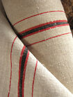 Vintage homespun linen fabric material 1YD upholstery washed red black striped
