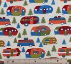 SNUGGLE FLANNEL COLORFUL CAMPERS  CAMPING 100 Cotton Fabric NEW BTY
