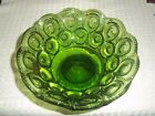 Vintage LE Smith Moon and Stars Green Glass Compote Footed Candy Dish