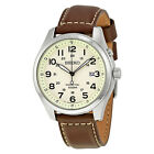 Seiko Kinetic Cream Enamel Dial Brown Leather Mens Watch SKA723