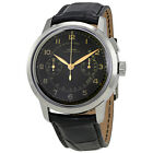 Vulcain 50s Presidents Automatic Chronograph Heritage Black Dial Black Leather